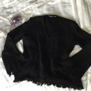 Zara Black Bell Sleeve Frayed Edge V neck Sweater